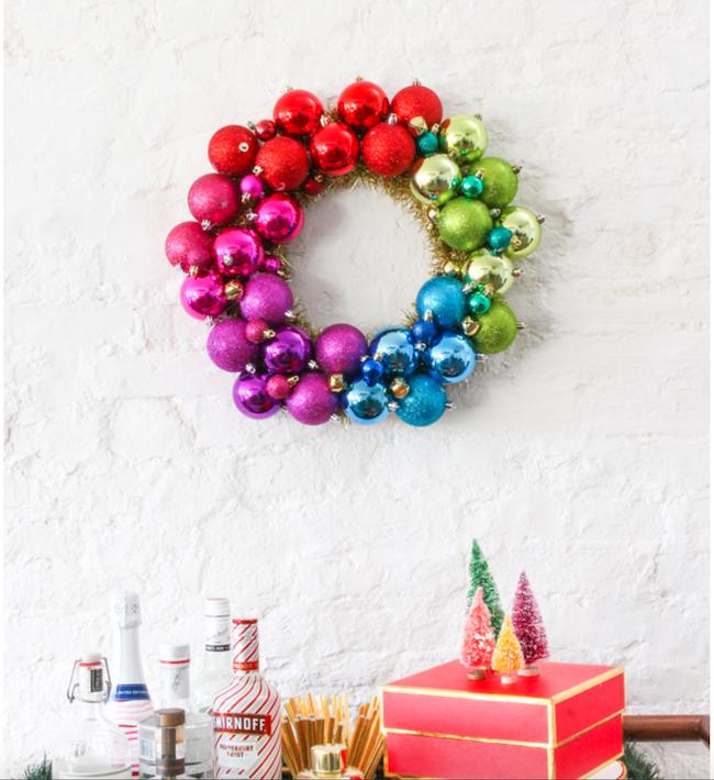 DIY Rainbow Ornament Wreath
