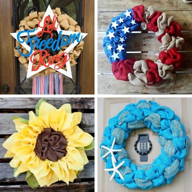 Summer burlap wreath ideas