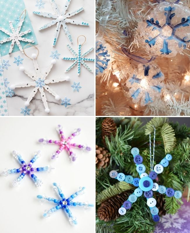 DIY kids snowflake ornaments
