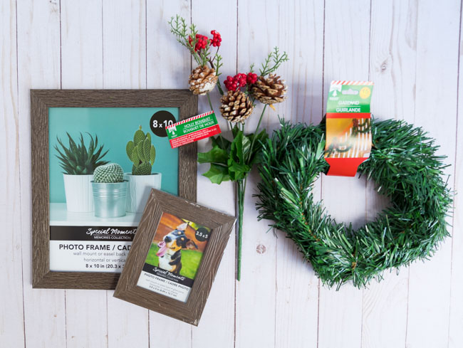 Supplies for Dollar Tree Christmas picture frames