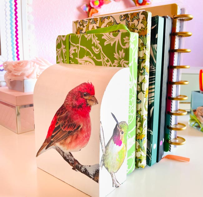Bookends decorated with pictures of birds