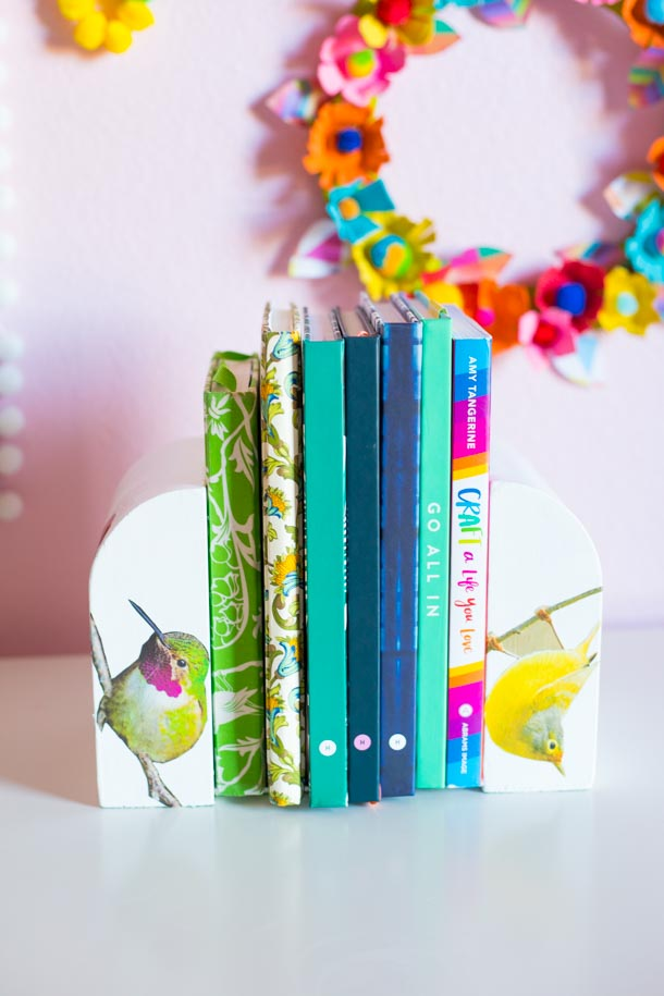 Books with bird bookends