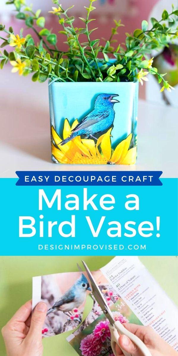 Glass vase decoupaged with birds