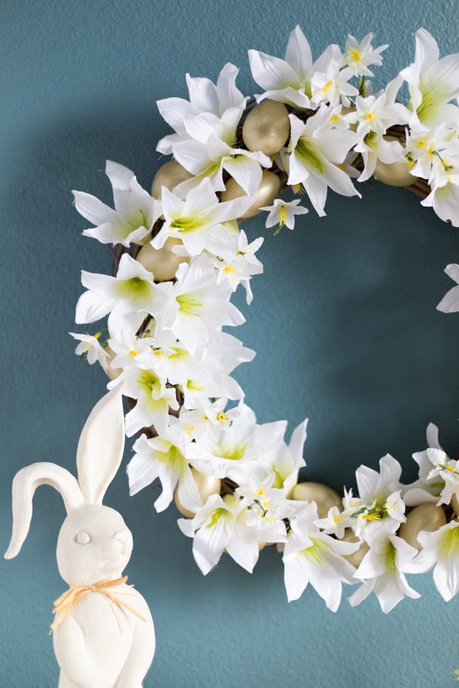 Dollar Tree Easter wreath with lilies and eggs