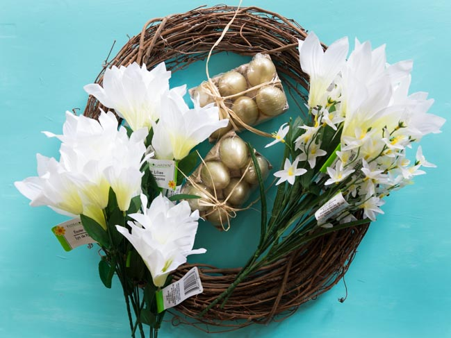 Supplies for DIY Dollar Tree Easter Wreath