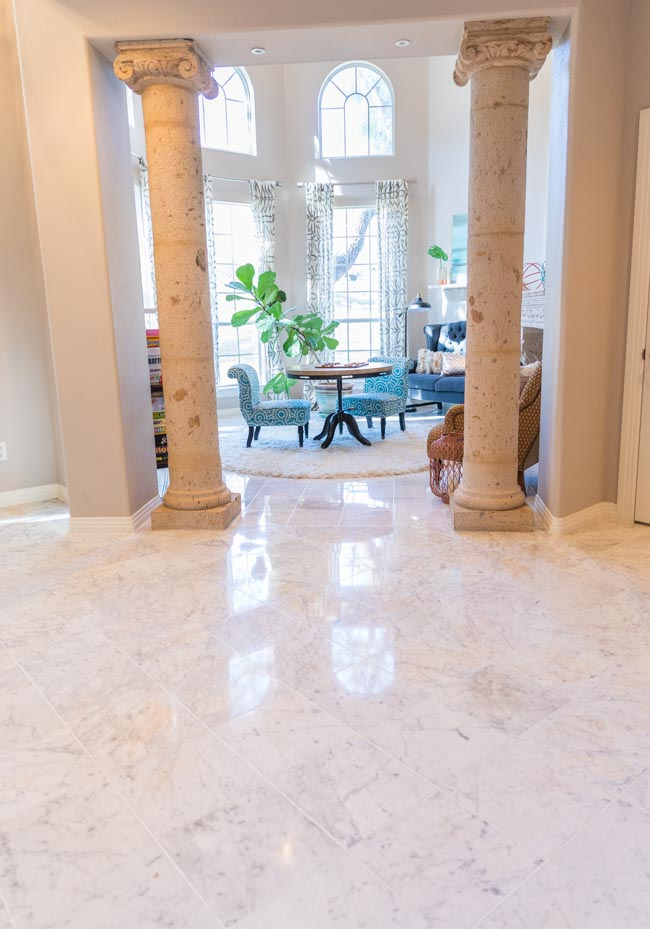 Foyer with marble floors