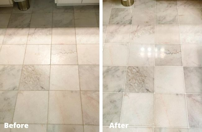 Marblelife tile floor refinishing before and after