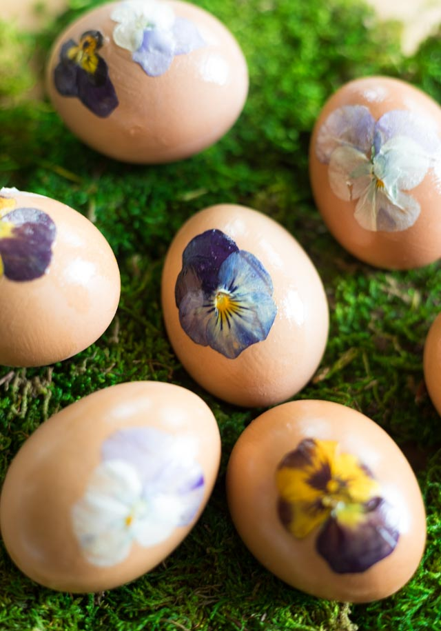Easter eggs decorated with pressed flowers
