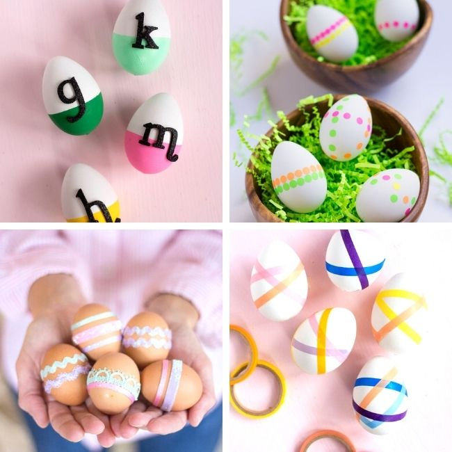 Easter eggs decorated with stickers and tape