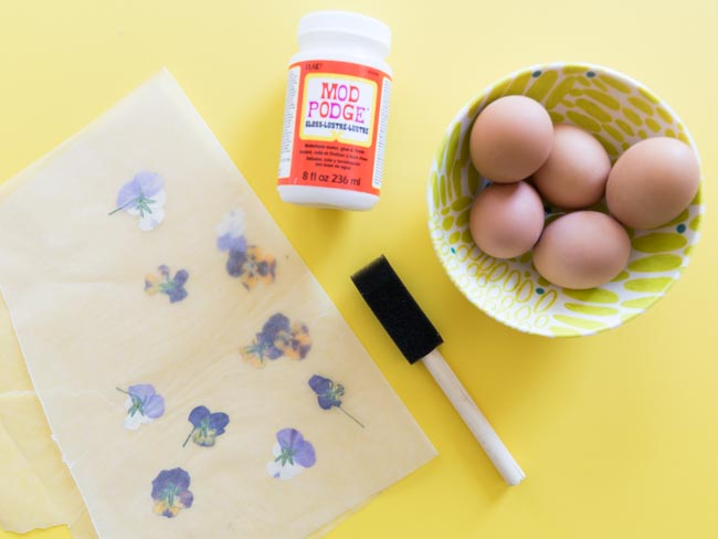 Supplies for pressed flower craft with eggs