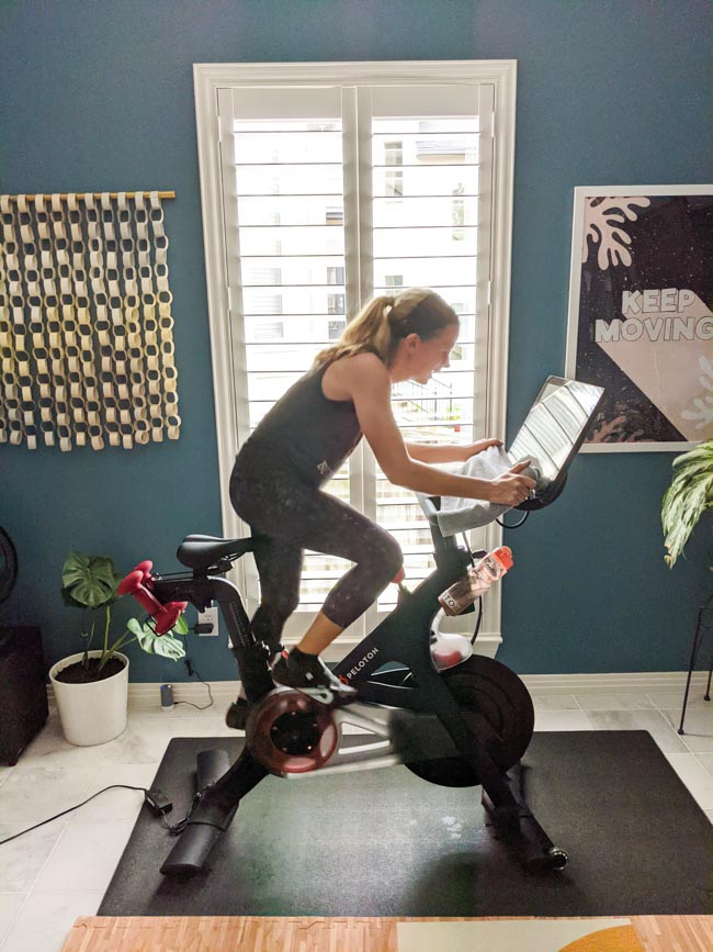 Working out on Peloton bike