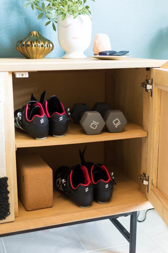 Peloton shoe storage idea