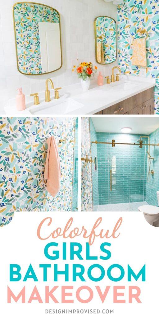Modern floral bathroom for girls