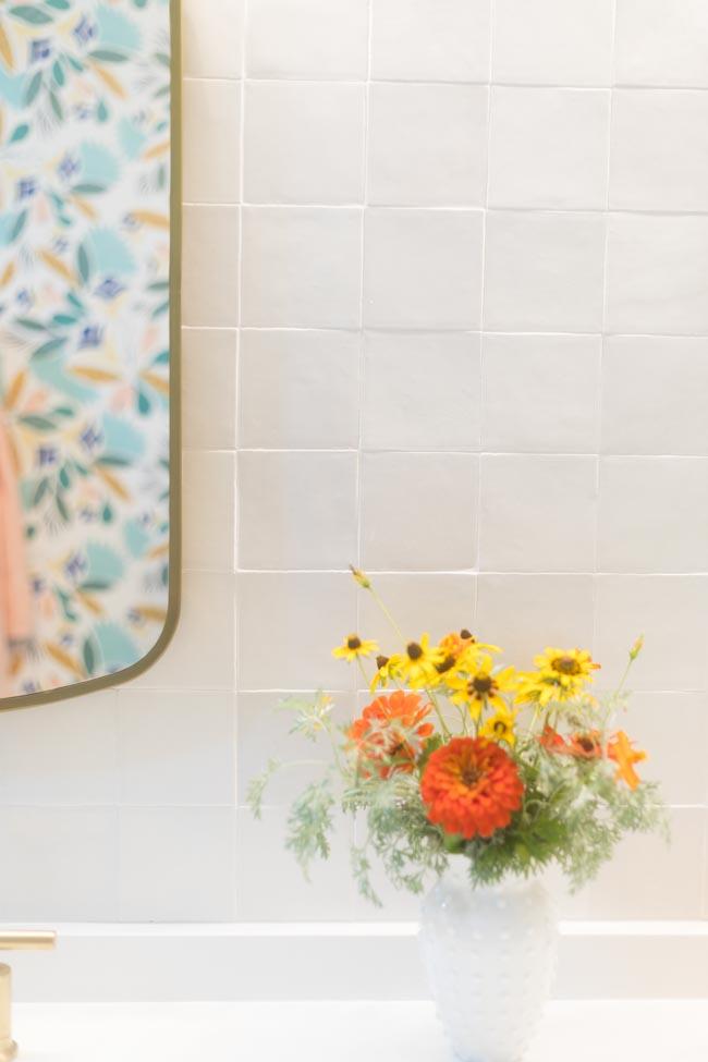 Zellige tile in gesso on bathroom wall