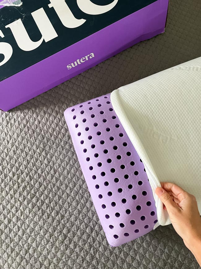 Washable cover on Sutera pillow