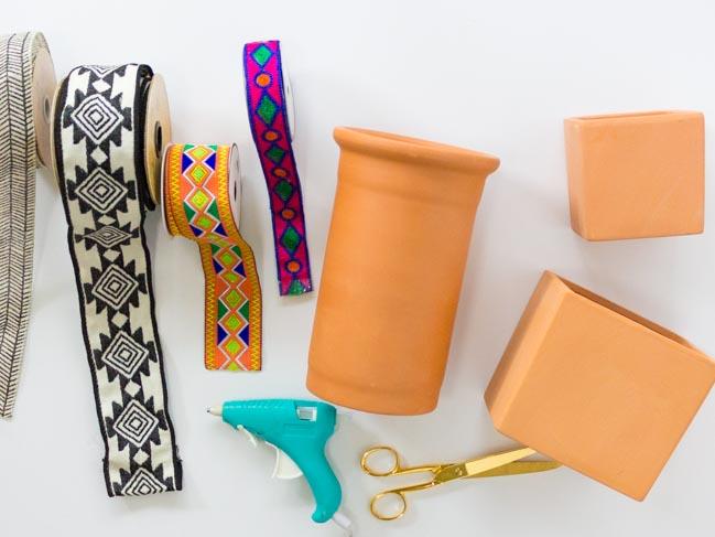 Supplies for boho terracotta planters